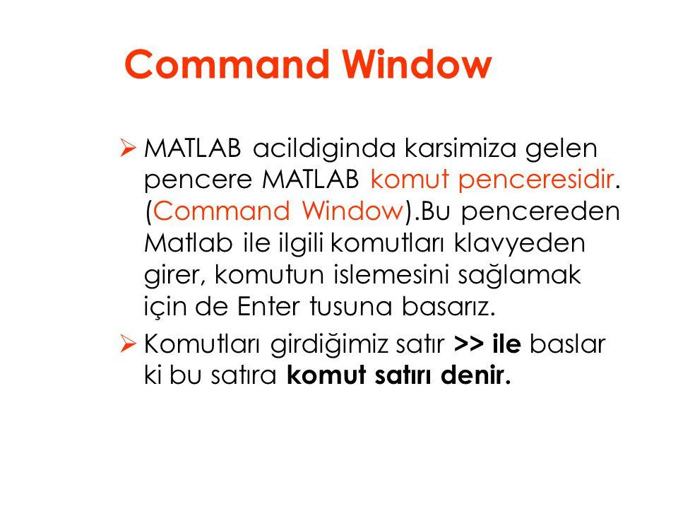  MATLAB acildiginda karsimiza gelen pencere MATLAB komut penceresidir.