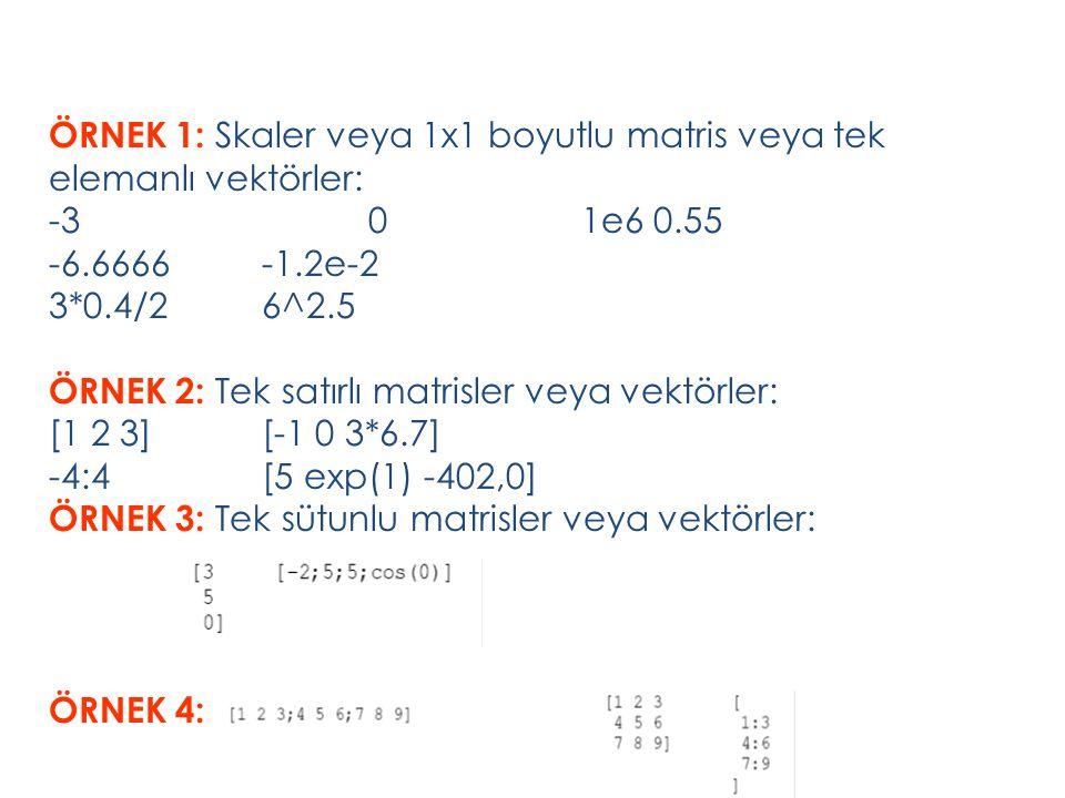 ÖRNEK 1: Skaler veya 1x1 boyutlu matris veya tek elemanlı vektörler: -3 0 1e6 0.55 -6.6666 -1.2e-2 3*0.4/2 6^2.5 ÖRNEK 2: Tek satırlı matrisler veya vektörler: [1 2 3] [-1 0 3*6.7] -4:4 [5 exp(1) -402,0] ÖRNEK 3: Tek sütunlu matrisler veya vektörler: ÖRNEK 4: : Matrisler