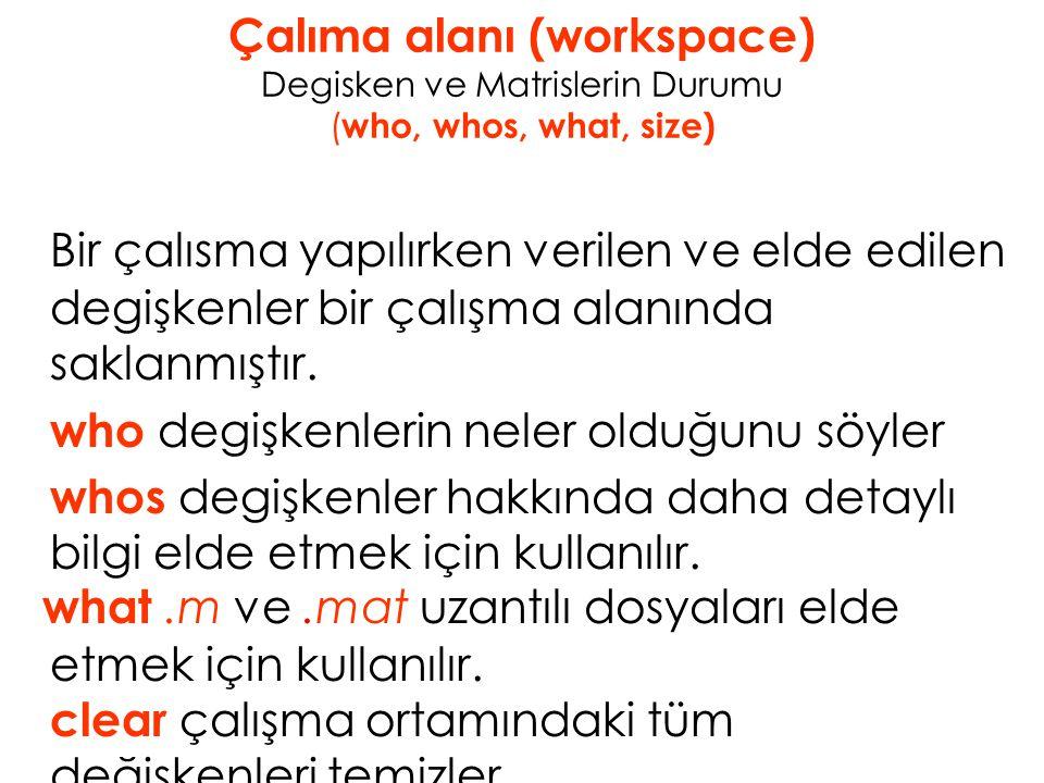 Çalıma alanı (workspace) Degisken ve Matrislerin Durumu ( who, whos, what, size) Bir çalısma yapılırken verilen ve elde edilen degişkenler bir çalışma alanında saklanmıştır.