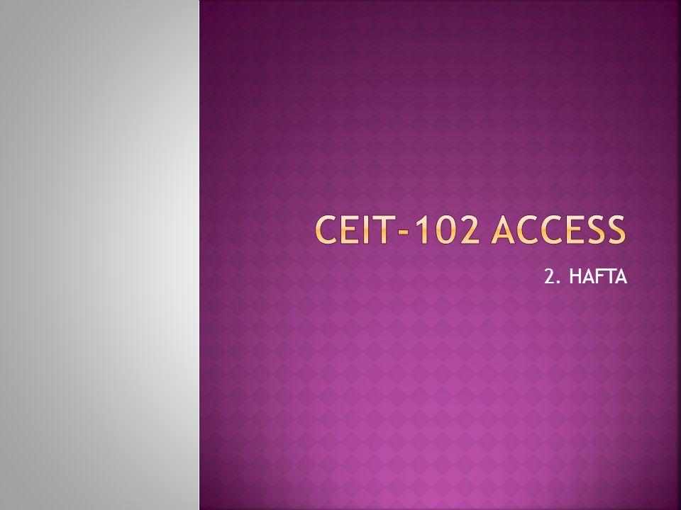  Access programının çalıştırılması Dosyanın doğrudan çalıştırılması