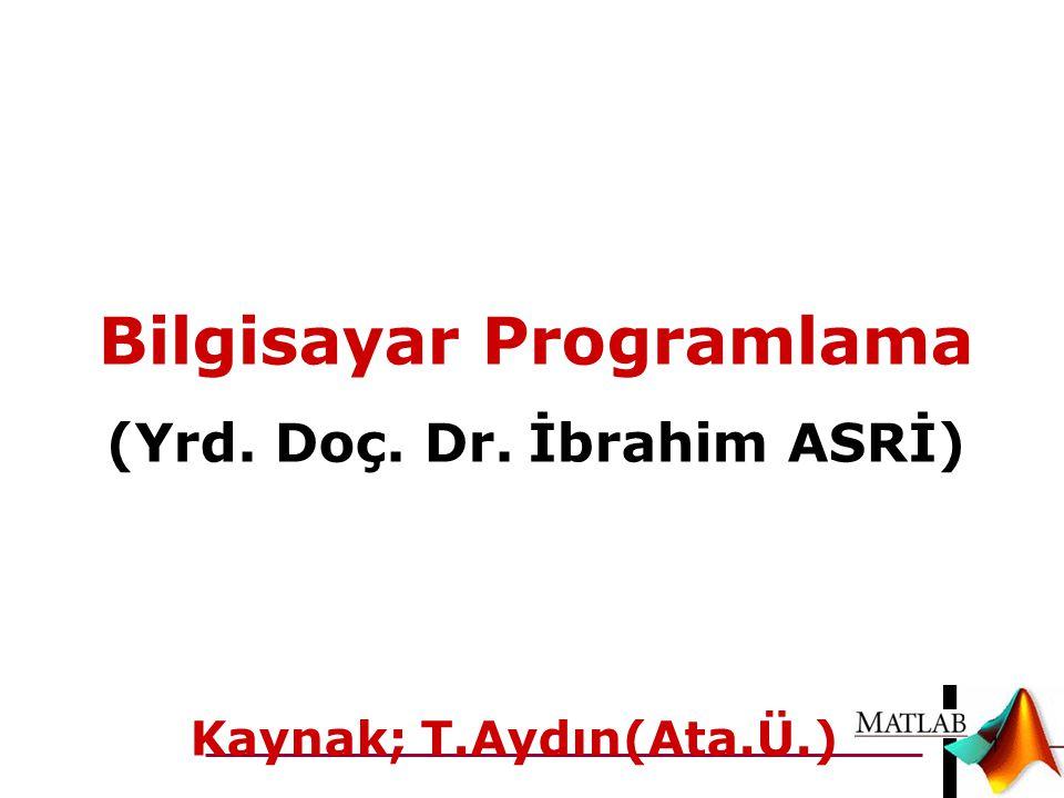 1 Bilgisayar Programlama (Yrd. Doç. Dr. İbrahim ASRİ) Kaynak; T.Aydın(Ata.Ü.)