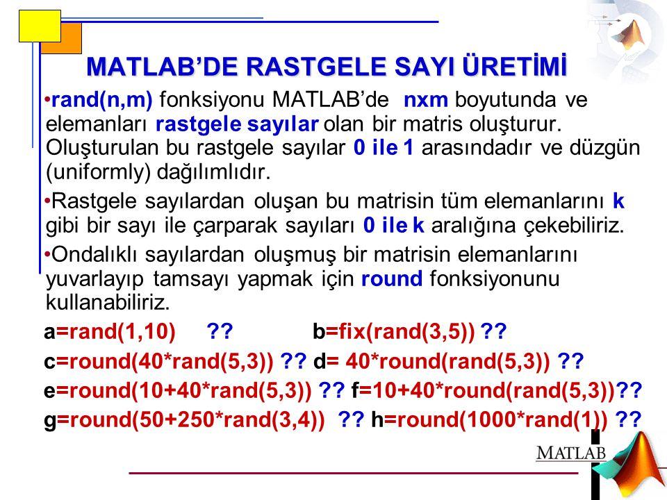 MATLAB'DE RASTGELE SAYI ÜRETİMİ •rand(n,m) fonksiyonu MATLAB'de nxm boyutunda ve elemanları rastgele sayılar olan bir matris oluşturur.