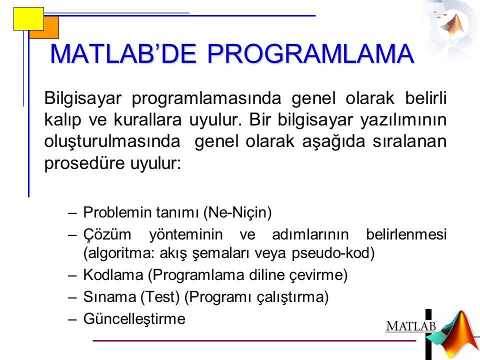MATLAB'DE PROGRAMLAMA Bilgisayar programlamasında genel olarak belirli kalıp ve kurallara uyulur.