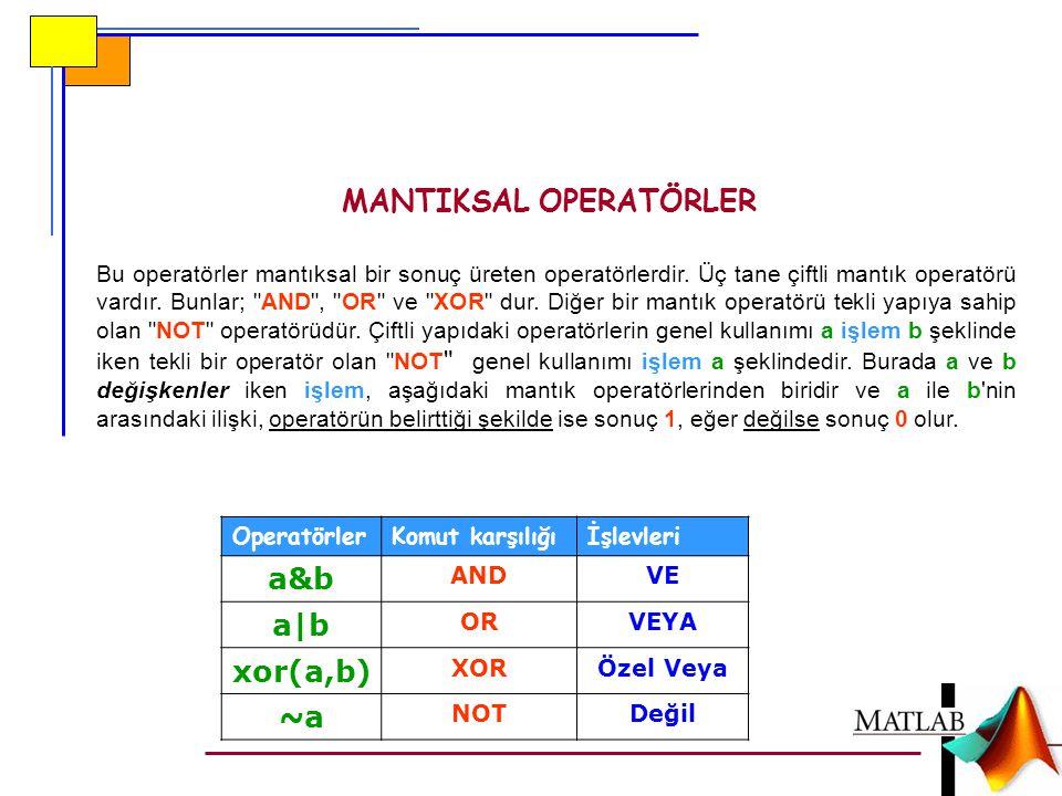MANTIKSAL OPERATÖRLER Bu operatörler mantıksal bir sonuç üreten operatörlerdir.