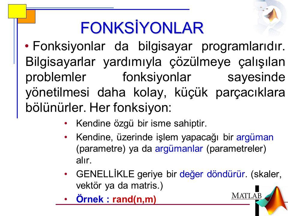 FONKSİYONLAR • Fonksiyonlar da bilgisayar programlarıdır.