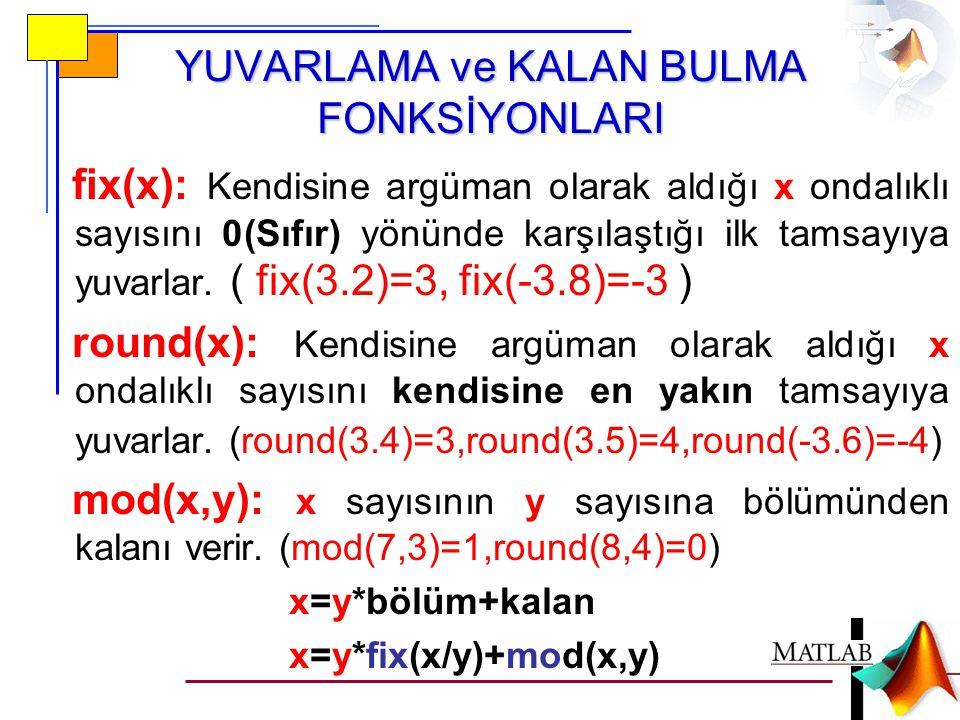 YUVARLAMA ve KALAN BULMA FONKSİYONLARI fix(x): Kendisine argüman olarak aldığı x ondalıklı sayısını 0(Sıfır) yönünde karşılaştığı ilk tamsayıya yuvarlar.