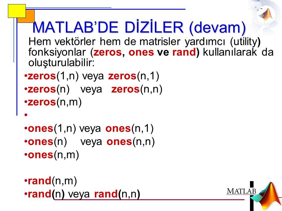 MATLAB'DE DİZİLER (devam) Hem vektörler hem de matrisler yardımcı (utility) fonksiyonlar (zeros, ones ve rand) kullanılarak da oluşturulabilir: •zeros(1,n) veya zeros(n,1) •zeros(n)veya zeros(n,n) •zeros(n,m) • •ones(1,n) veya ones(n,1) •ones(n)veya ones(n,n) •ones(n,m) •rand(n,m) •rand(n) veya rand(n,n)