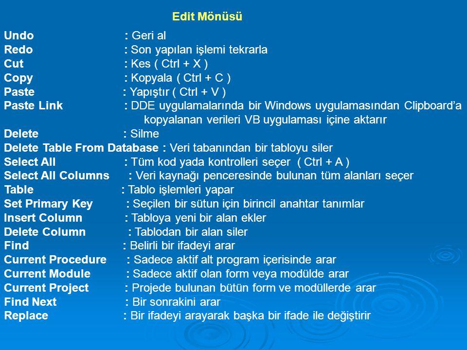 Indent : İmlecin bulunduğu satırı bir tab sağa kaydırır Outdent : İmlecin bulunduğu satırı bir tab sola kaydırır Insert File : Koda imlecin bulunduğu noktadan itibaren başka bir dosyadan alınan kodu ekler List Properties/Methods : Kod penceresine yazılan ifadeden sonra yazılabilecek diğer ifadeleri gösterir List Constants : İfadenin alabileceği sabit değerleri gösterir Quick Info : Fonksiyon, metot, prosedür ve değişkenlerin yazılışını gösterir Parameter Info : Fonksiyon veya ifadelerin içerdikleri parametreleri gösterir Complete Word : Yazılan ifadenin otomatik olarak tamamlanmasını sağlar Bookmarks : Sık kullanılan satırlara kolay bir erişim sağlar Toggle Bookmark : Ulaşılmak istenen satırı işaretler veya işareti iptal eder Next Bookmark : Bir sonraki işaretlenmiş kod satırına gider Previous Bookmark : Bir önceki işaretlenmiş kod satırına gider Clear All Bookmarks : Aktif penceredeki tüm işaretlemeleri iptal eder