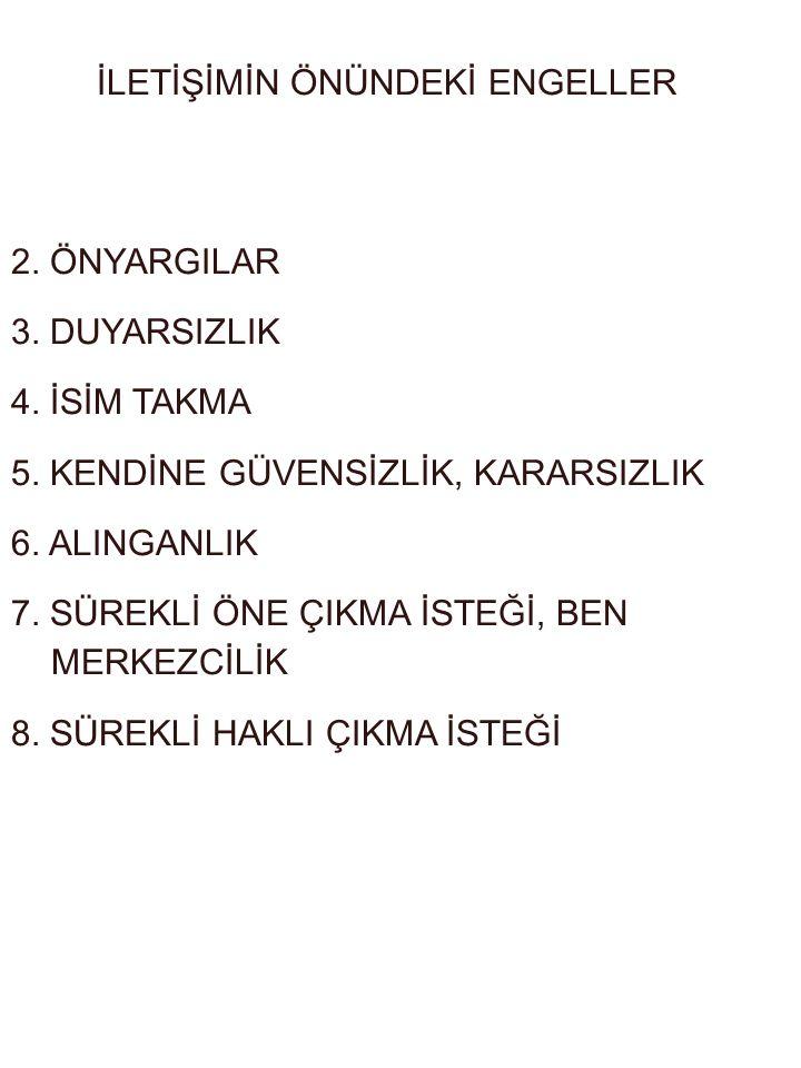İLETİŞİMİN ÖNÜNDEKİ ENGELLER 2.ÖNYARGILAR 3. DUYARSIZLIK 4.
