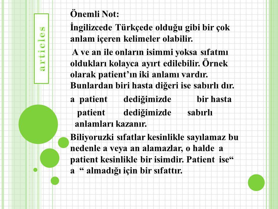 Önemli Not: İngilizcede Türkçede olduğu gibi bir çok anlam içeren kelimeler olabilir. A ve an ile onların isimmi yoksa sıfatmı oldukları kolayca ayırt