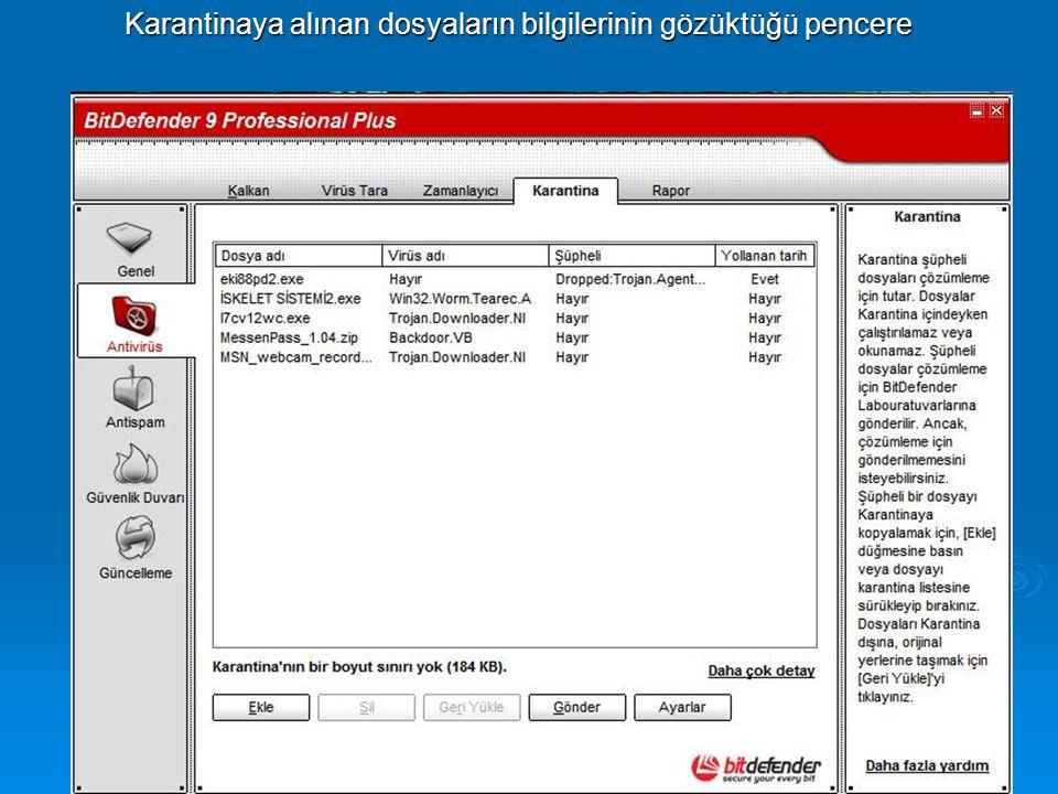 Karantinaya alınan dosyaların bilgilerinin gözüktüğü pencere