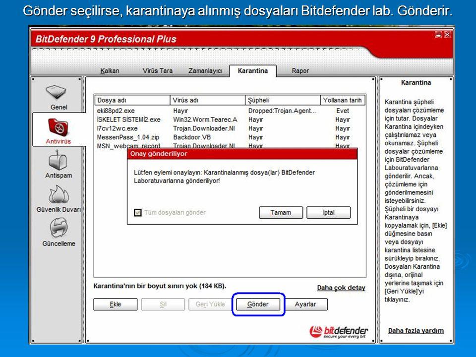 Gönder seçilirse, karantinaya alınmış dosyaları Bitdefender lab. Gönderir.