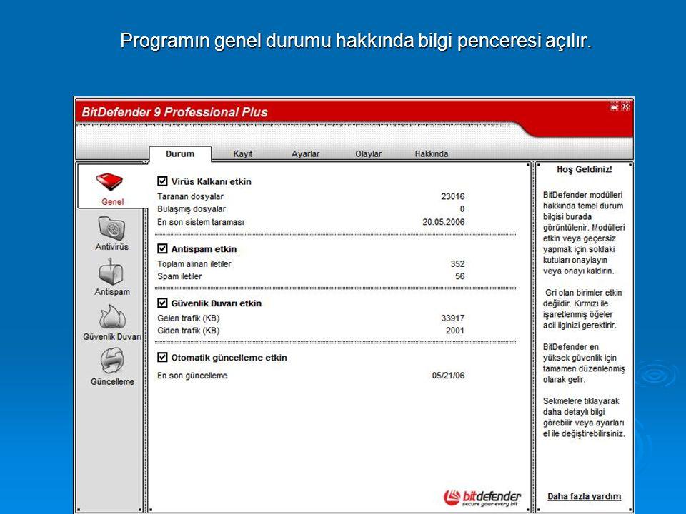 Programın genel durumu hakkında bilgi penceresi açılır.