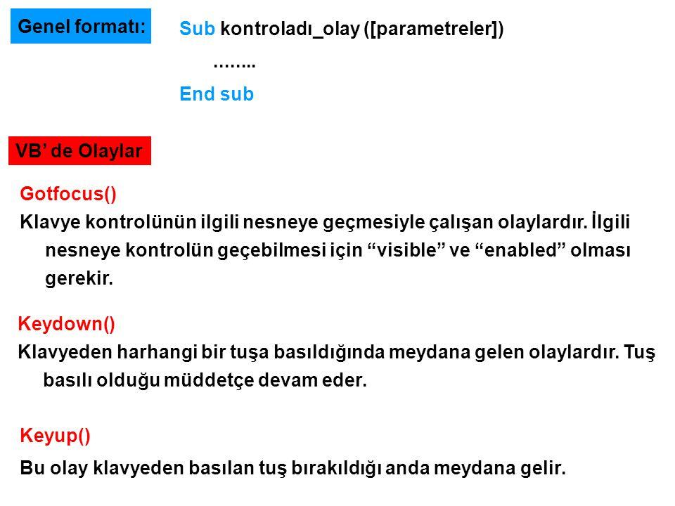 Genel formatı: Sub kontroladı_olay ([parametreler])........ End sub VB' de Olaylar Keydown() Klavyeden harhangi bir tuşa basıldığında meydana gelen ol