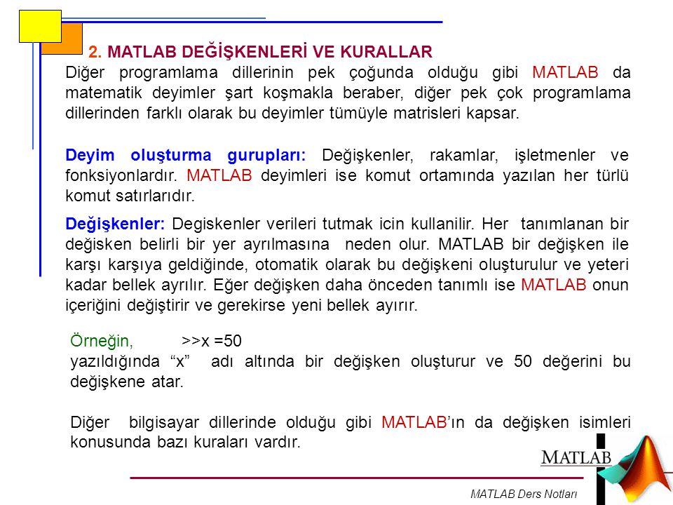 MATLAB Ders Notları 2.