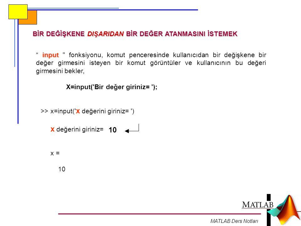 MATLAB Ders Notları BİR DEĞİŞKENE DIŞARIDAN BİR DEĞER ATANMASINI İSTEMEK input input fonksiyonu, komut penceresinde kullanıcıdan bir değişkene bir değer girmesini isteyen bir komut görüntüler ve kullanıcının bu değeri girmesini bekler, X=input( Bir değer giriniz= ); >> x=input( x değerini giriniz= ) x değerini giriniz= 10 x = 10