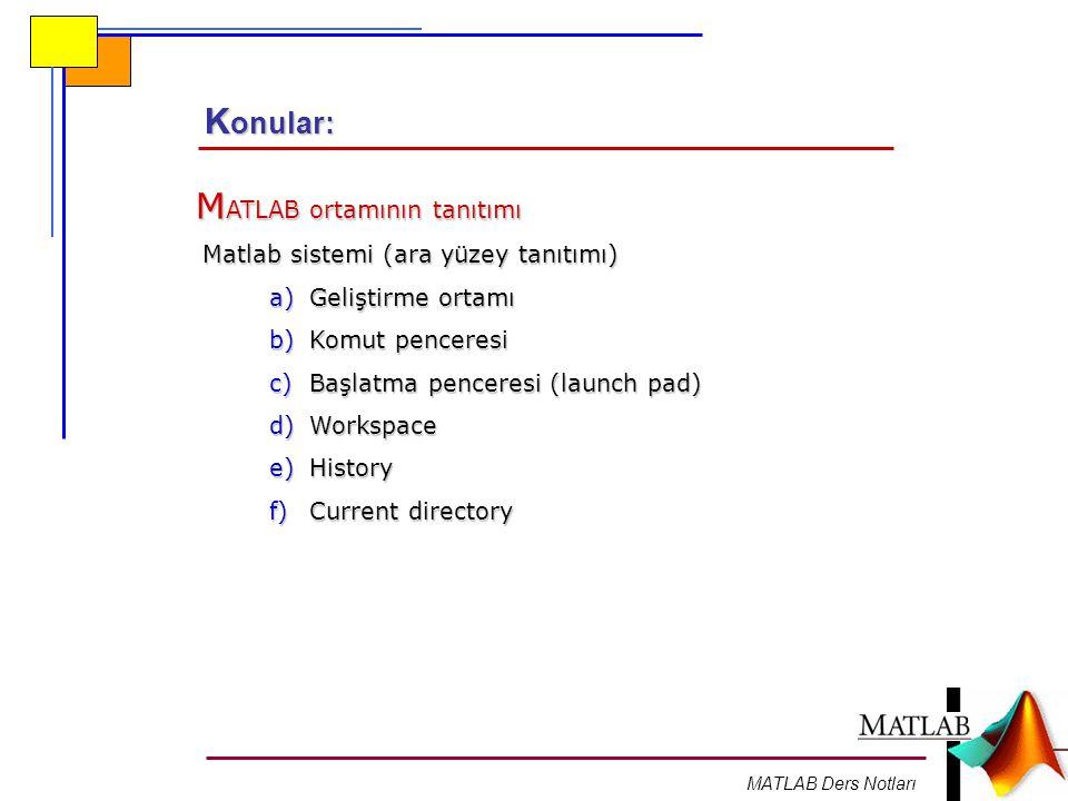 MATLAB Ders Notları ÖZEL DEĞERLER VE KALICI DEĞİŞKENLER MATLAB ın yapısında önceden tanımlanmış, kullanılacakları zaman tekrar tanımlanmalarına gerek olmayan ve herhangi bir anda kullanılmaya hazır bazı özel değerler bulunur.