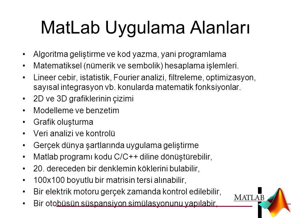 MatLab Uygulama Alanları •Algoritma geliştirme ve kod yazma, yani programlama •Matematiksel (nümerik ve sembolik) hesaplama işlemleri.