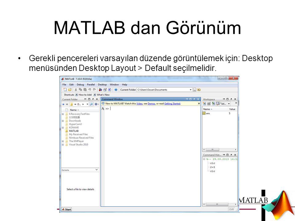 MATLAB dan Görünüm •Matlab: File, Edit, Debug, Window ve help menülerinden oluşmaktadır.