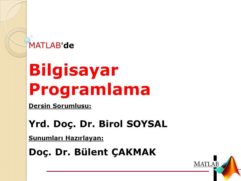 MATLAB ' de Bilgisayar Programlama Dersin Sorumlusu: Yrd. Doç. Dr. Birol SOYSAL Sunumları Hazırlayan: Doç. Dr. Bülent ÇAKMAK
