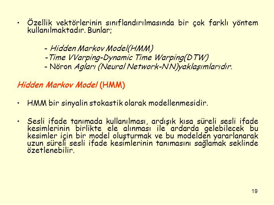 19 •Özellik vektörlerinin sınıflandırılmasında bir çok farklı yöntem kullanılmaktadır. Bunlar; - Hidden Markov Model(HMM) -Time VVarping-Dynamic Time