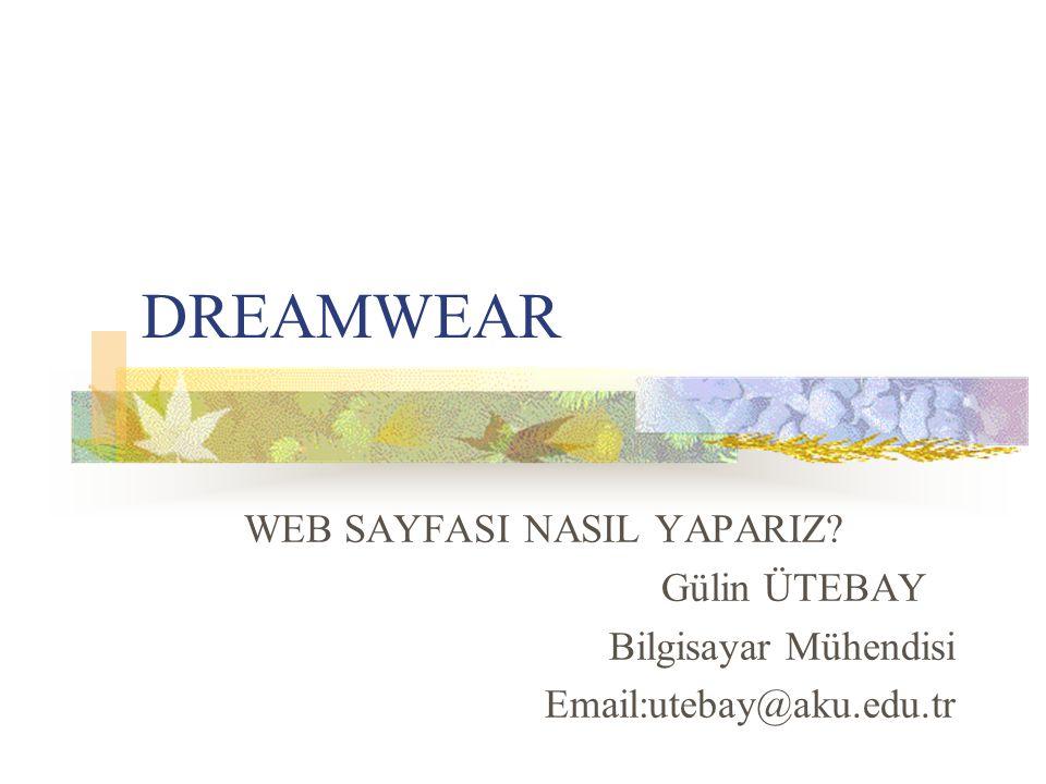 DREAMWEAR WEB SAYFASI NASIL YAPARIZ? Gülin ÜTEBAY Bilgisayar Mühendisi Email:utebay@aku.edu.tr