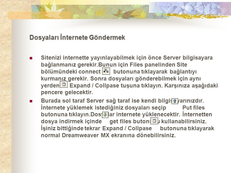 Dosyaları İnternete Göndermek  Sitenizi internette yayınlayabilmek için önce Server bilgisayara bağlanmanız gerekir.Bunun için Files panelinden Site