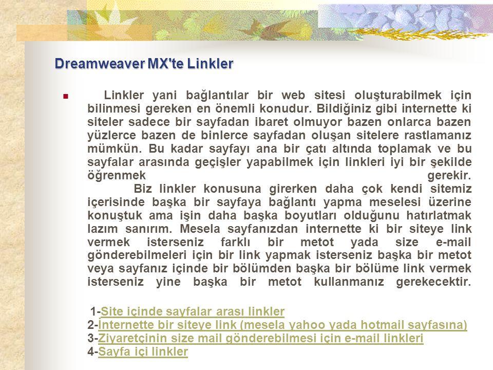 Dreamweaver MX'te Linkler  Linkler yani bağlantılar bir web sitesi oluşturabilmek için bilinmesi gereken en önemli konudur. Bildiğiniz gibi internett