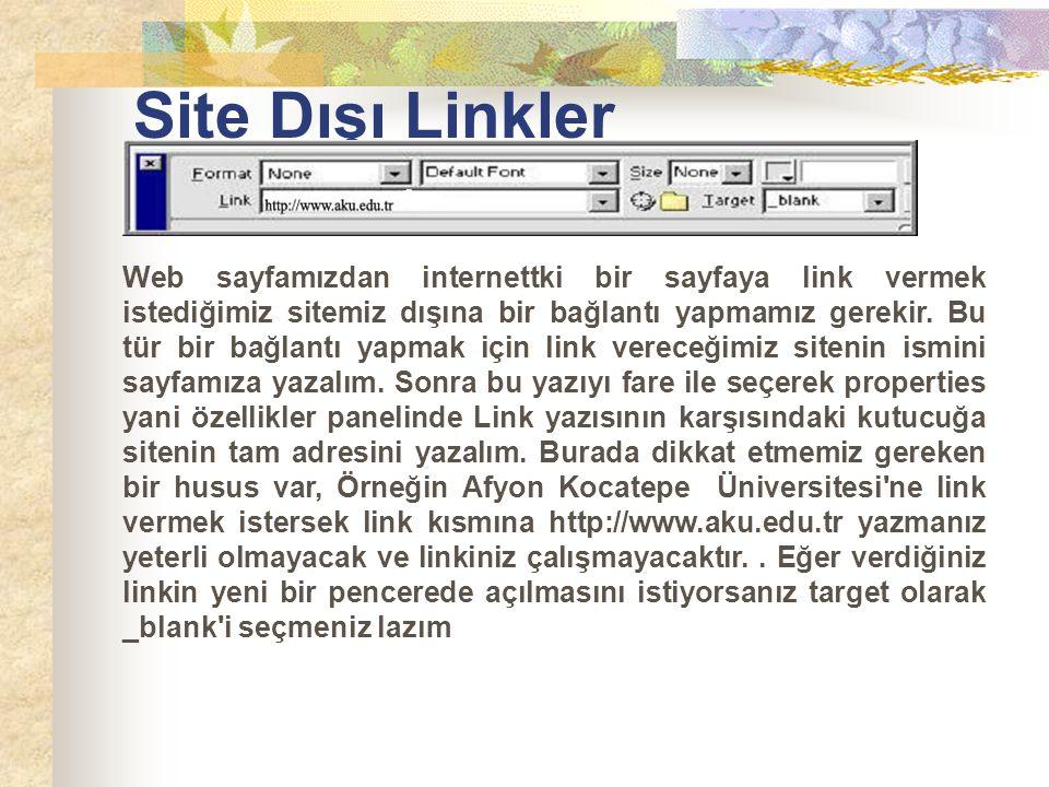 Site Dışı Linkler Web sayfamızdan internettki bir sayfaya link vermek istediğimiz sitemiz dışına bir bağlantı yapmamız gerekir. Bu tür bir bağlantı ya