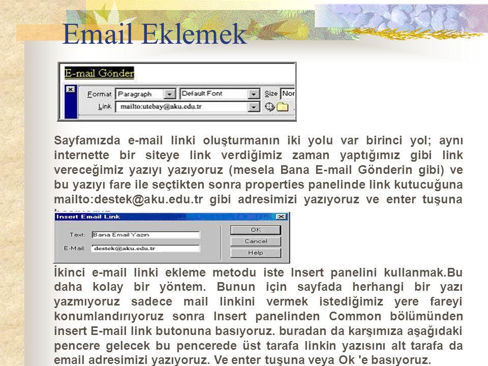 Sayfamızda e-mail linki oluşturmanın iki yolu var birinci yol; aynı internette bir siteye link verdiğimiz zaman yaptığımız gibi link vereceğimiz yazıy