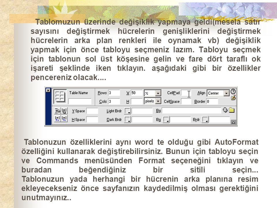 Tablonuzun özelliklerini aynı word te olduğu gibi AutoFormat özelliğini kullanarak değiştirebilirsiniz. Bunun için tabloyu seçin ve Commands menüsünde