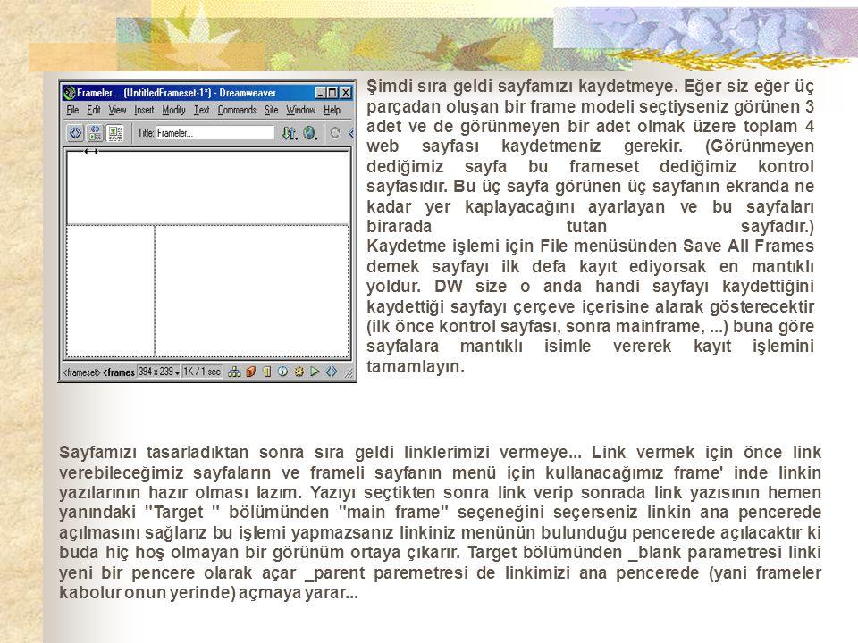 Şimdi sıra geldi sayfamızı kaydetmeye. Eğer siz eğer üç parçadan oluşan bir frame modeli seçtiyseniz görünen 3 adet ve de görünmeyen bir adet olmak üz