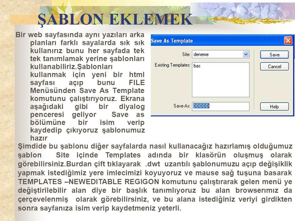 ŞABLON EKLEMEK Bir web sayfasında aynı yazıları arka planları farklı sayalarda sık sık kullanırız bunu her sayfada tek tek tanımlamak yerine şablonlar