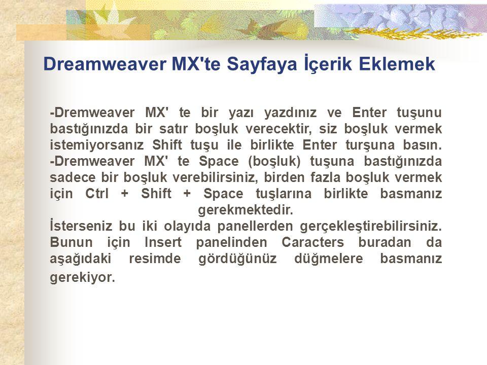 Dreamweaver MX'te Sayfaya İçerik Eklemek -Dremweaver MX' te bir yazı yazdınız ve Enter tuşunu bastığınızda bir satır boşluk verecektir, siz boşluk ver