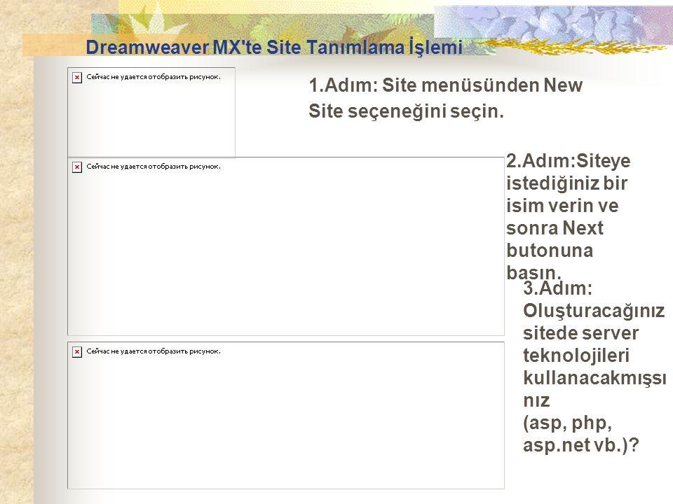 1.Adım: Site menüsünden New Site seçeneğini seçin. 2.Adım:Siteye istediğiniz bir isim verin ve sonra Next butonuna basın. 3.Adım: Oluşturacağınız site