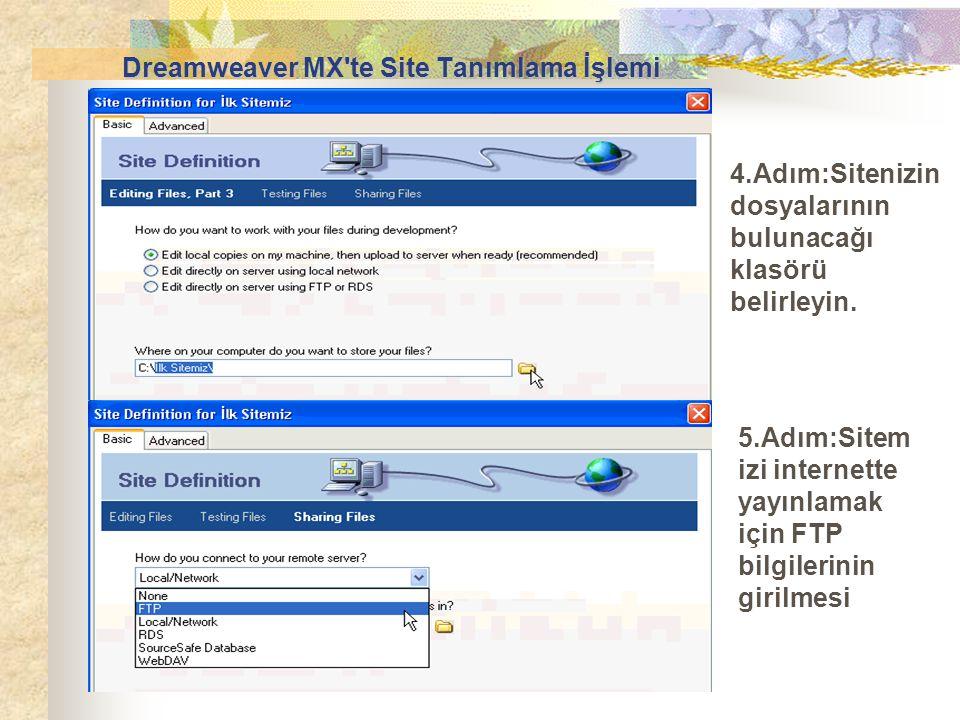 4.Adım:Sitenizin dosyalarının bulunacağı klasörü belirleyin. 5.Adım:Sitem izi internette yayınlamak için FTP bilgilerinin girilmesi Dreamweaver MX'te