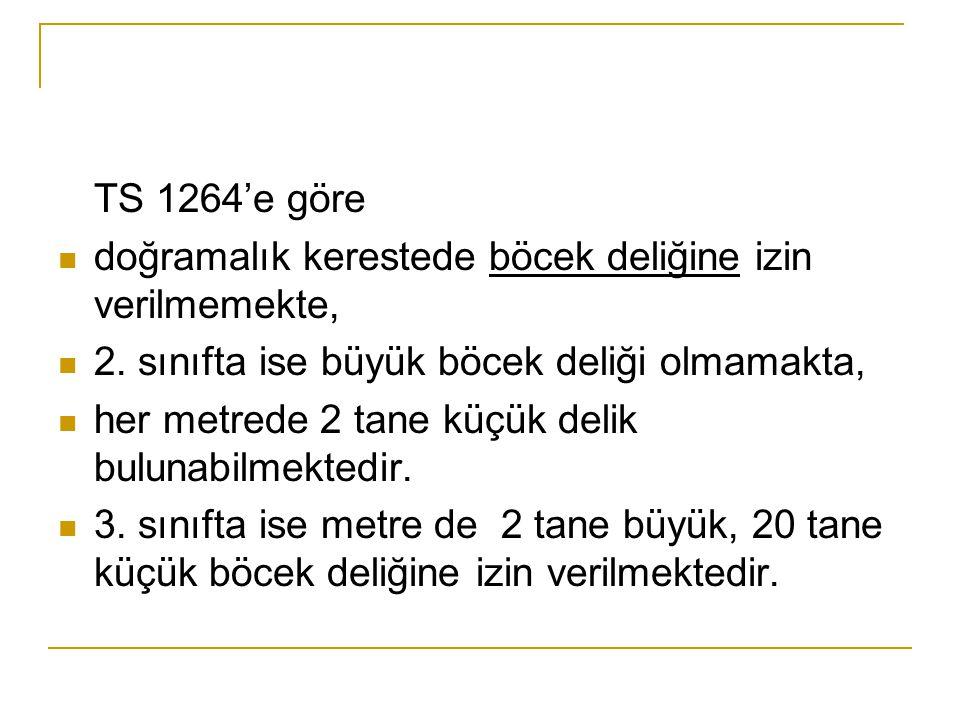 TS 1264'e göre  doğramalık kerestede böcek deliğine izin verilmemekte,  2.