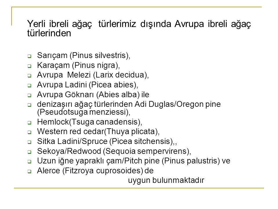 Yerli ibreli ağaç türlerimiz dışında Avrupa ibreli ağaç türlerinden  Sarıçam (Pinus silvestris),  Karaçam (Pinus nigra),  Avrupa Melezi (Larix deci