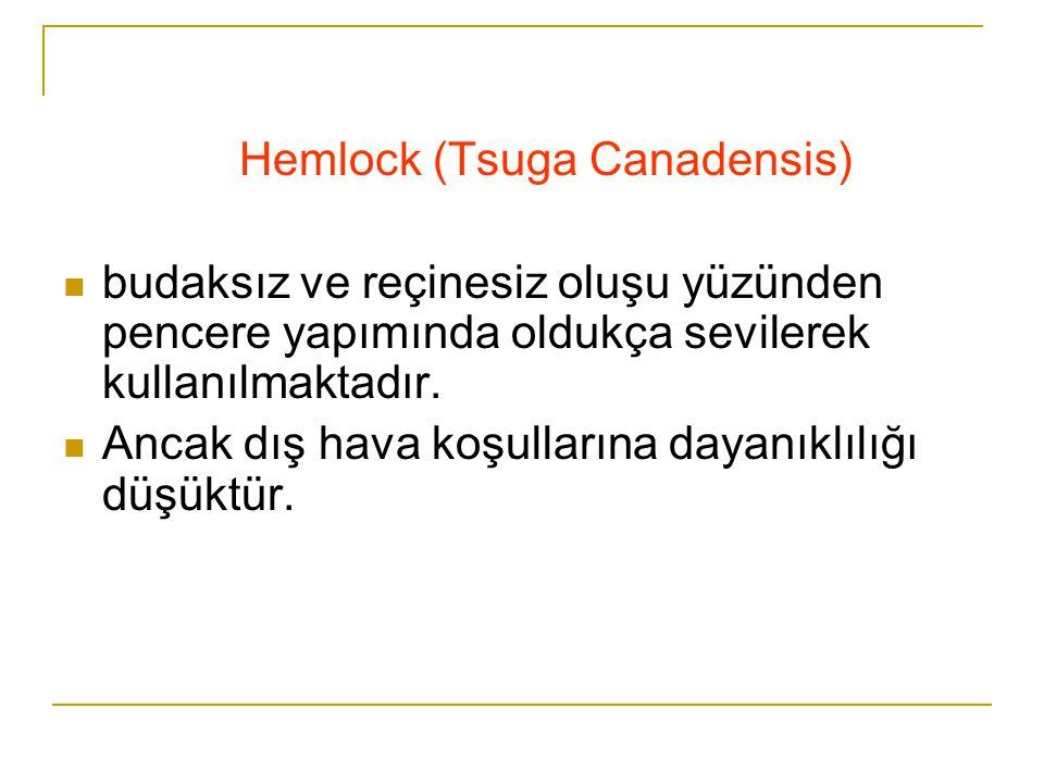 Hemlock (Tsuga Canadensis)  budaksız ve reçinesiz oluşu yüzünden pencere yapımında oldukça sevilerek kullanılmaktadır.  Ancak dış hava koşullarına d