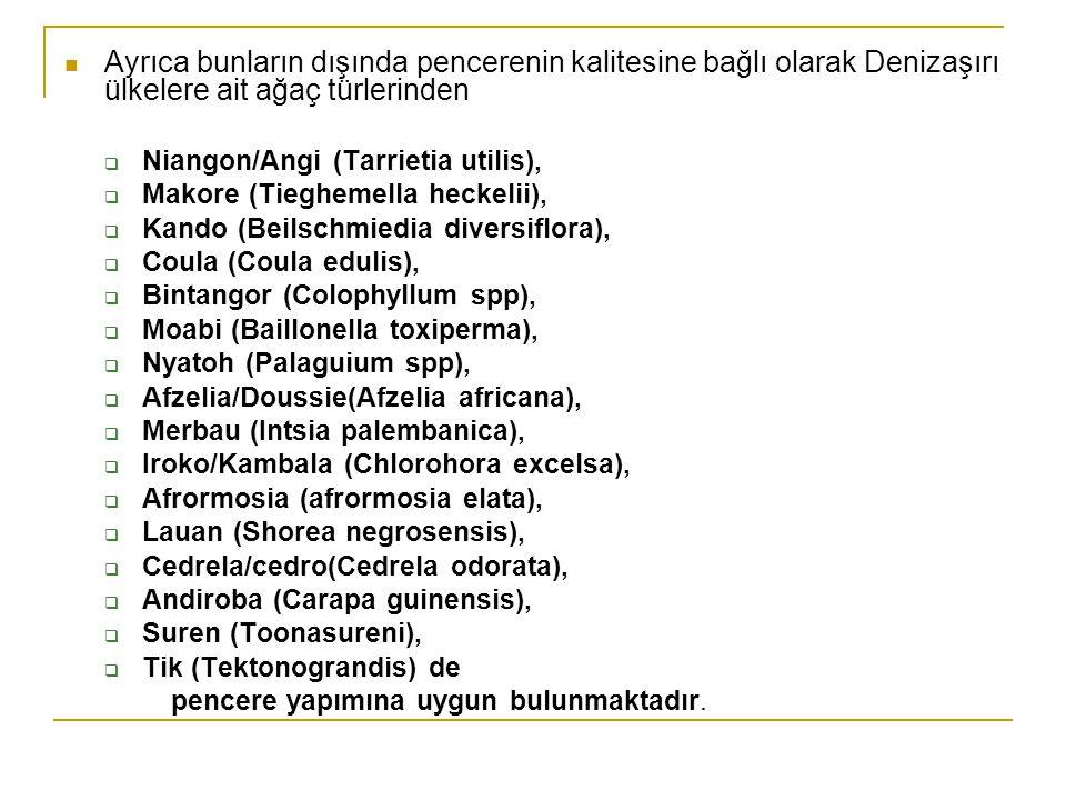  Ayrıca bunların dışında pencerenin kalitesine bağlı olarak Denizaşırı ülkelere ait ağaç türlerinden  Niangon/Angi (Tarrietia utilis),  Makore (Tieghemella heckelii),  Kando (Beilschmiedia diversiflora),  Coula (Coula edulis),  Bintangor (Colophyllum spp),  Moabi (Baillonella toxiperma),  Nyatoh (Palaguium spp),  Afzelia/Doussie(Afzelia africana),  Merbau (Intsia palembanica),  Iroko/Kambala (Chlorohora excelsa),  Afrormosia (afrormosia elata),  Lauan (Shorea negrosensis),  Cedrela/cedro(Cedrela odorata),  Andiroba (Carapa guinensis),  Suren (Toonasureni),  Tik (Tektonograndis) de pencere yapımına uygun bulunmaktadır.