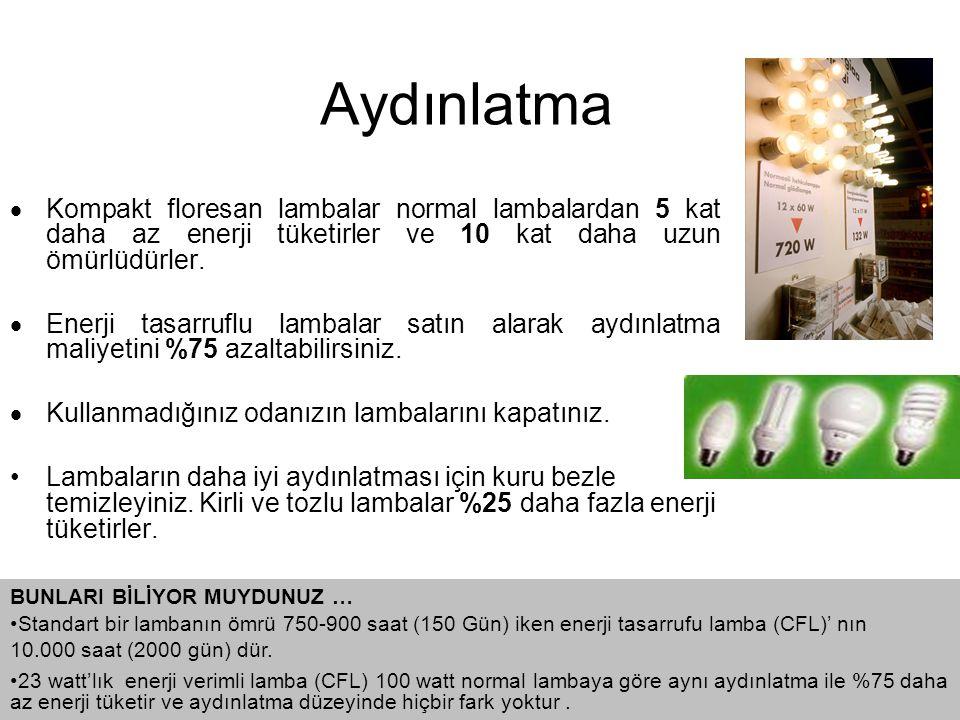  Kompakt floresan lambalar normal lambalardan 5 kat daha az enerji tüketirler ve 10 kat daha uzun ömürlüdürler.