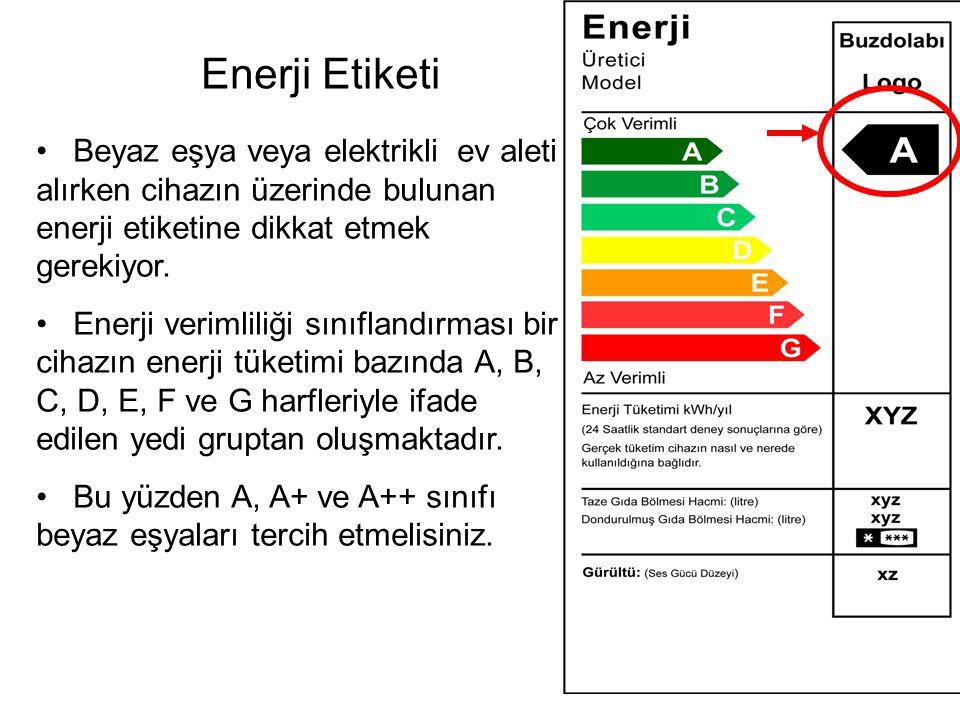 •Beyaz eşya veya elektrikli ev aleti alırken cihazın üzerinde bulunan enerji etiketine dikkat etmek gerekiyor.