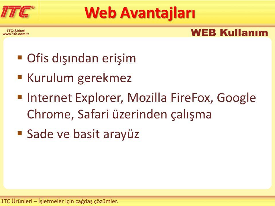  Ofis dışından erişim  Kurulum gerekmez  Internet Explorer, Mozilla FireFox, Google Chrome, Safari üzerinden çalışma  Sade ve basit arayüz Web Ava