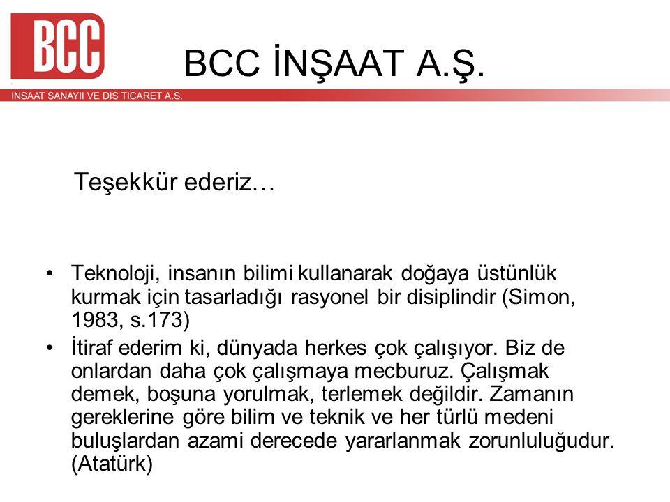 BCC İNŞAAT A.Ş. Teşekkür ederiz… •Teknoloji, insanın bilimi kullanarak doğaya üstünlük kurmak için tasarladığı rasyonel bir disiplindir (Simon, 1983,