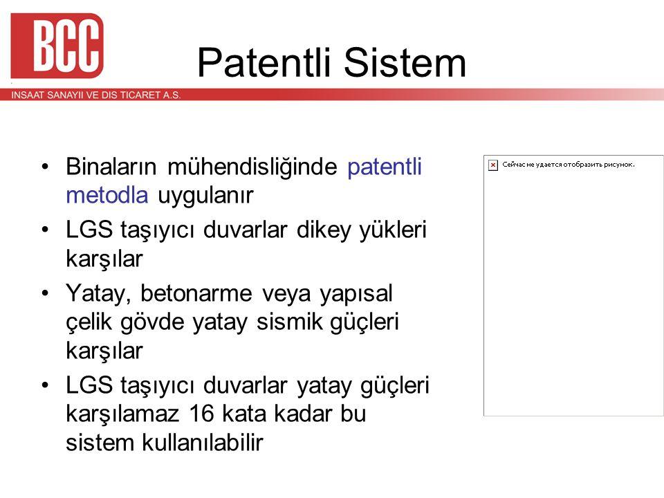 Patentli Sistem •Binaların mühendisliğinde patentli metodla uygulanır •LGS taşıyıcı duvarlar dikey yükleri karşılar •Yatay, betonarme veya yapısal çel