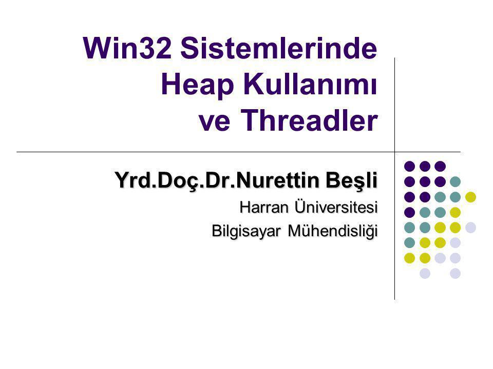 Win32 Sistemlerinde Heap Kullanımı ve Threadler Yrd.Doç.Dr.Nurettin Beşli Harran Üniversitesi Bilgisayar Mühendisliği