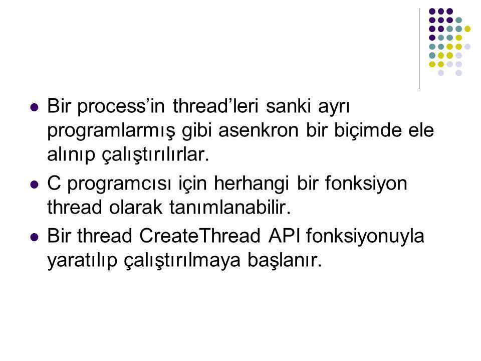  Bir process'in thread'leri sanki ayrı programlarmış gibi asenkron bir biçimde ele alınıp çalıştırılırlar.  C programcısı için herhangi bir fonksiyo
