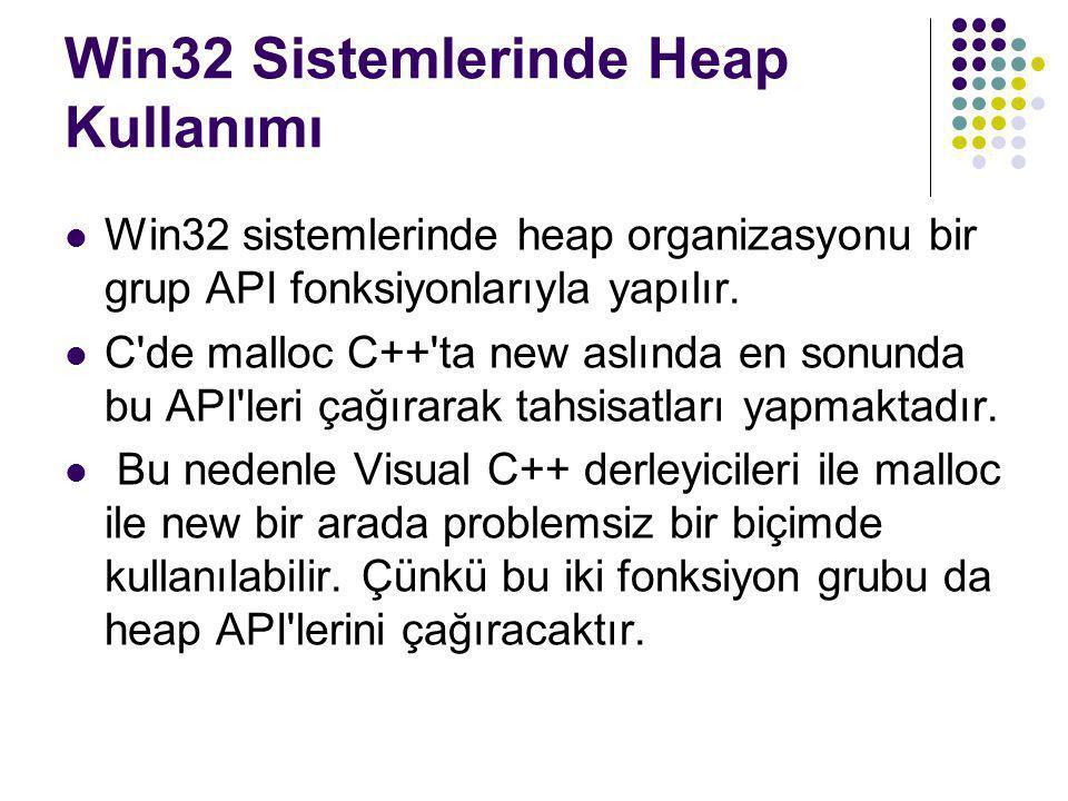 Win32 Sistemlerinde Heap Kullanımı  Win32 sistemlerinde heap organizasyonu bir grup API fonksiyonlarıyla yapılır.  C'de malloc C++'ta new aslında en