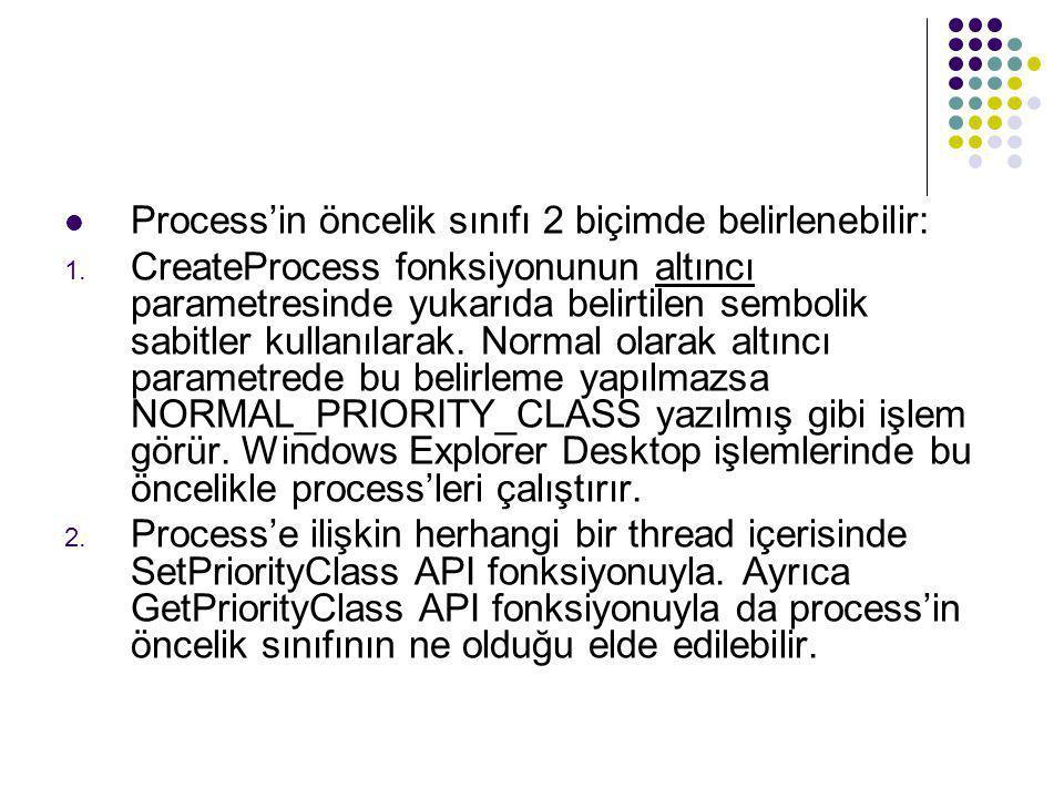  Process'in öncelik sınıfı 2 biçimde belirlenebilir: 1. CreateProcess fonksiyonunun altıncı parametresinde yukarıda belirtilen sembolik sabitler kull