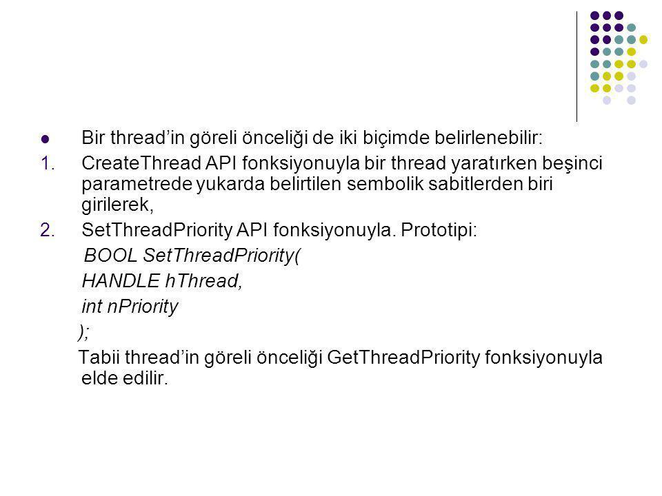  Bir thread'in göreli önceliği de iki biçimde belirlenebilir: 1. CreateThread API fonksiyonuyla bir thread yaratırken beşinci parametrede yukarda bel